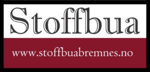 Bilde av Stoffbuas logo med nettstedsadresse www.stoffbuabremnes.no
